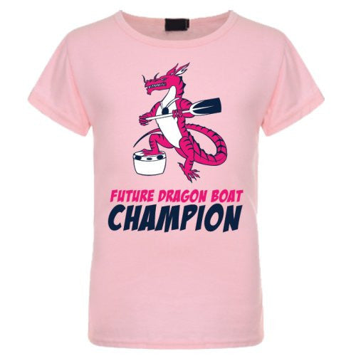 Future Dragon Boat Champion Kids Pink T-Shirt