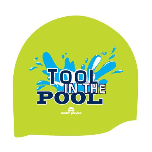 Tool in the pool Seamless fluoro Green Silicone cap by Swim Psyko