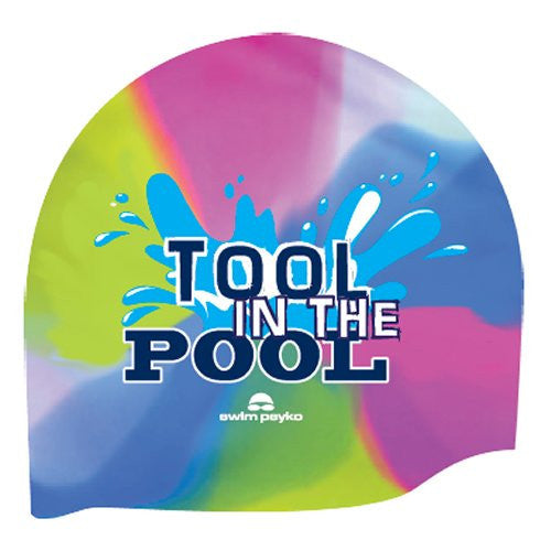 Tool in the Pool Flat Tie Dye Silicone cap by Swim Psyko