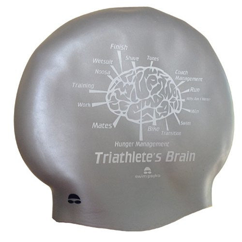 Triathlete's Brain Silver Seamless Silicone cap