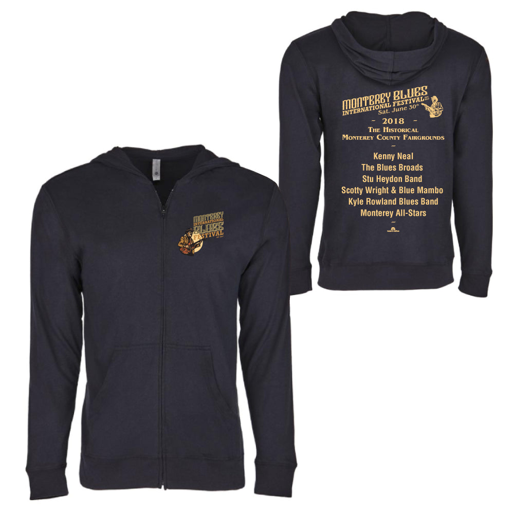 2018 Monterey International Blues Festival French Black Unisex Zipped Hoodie