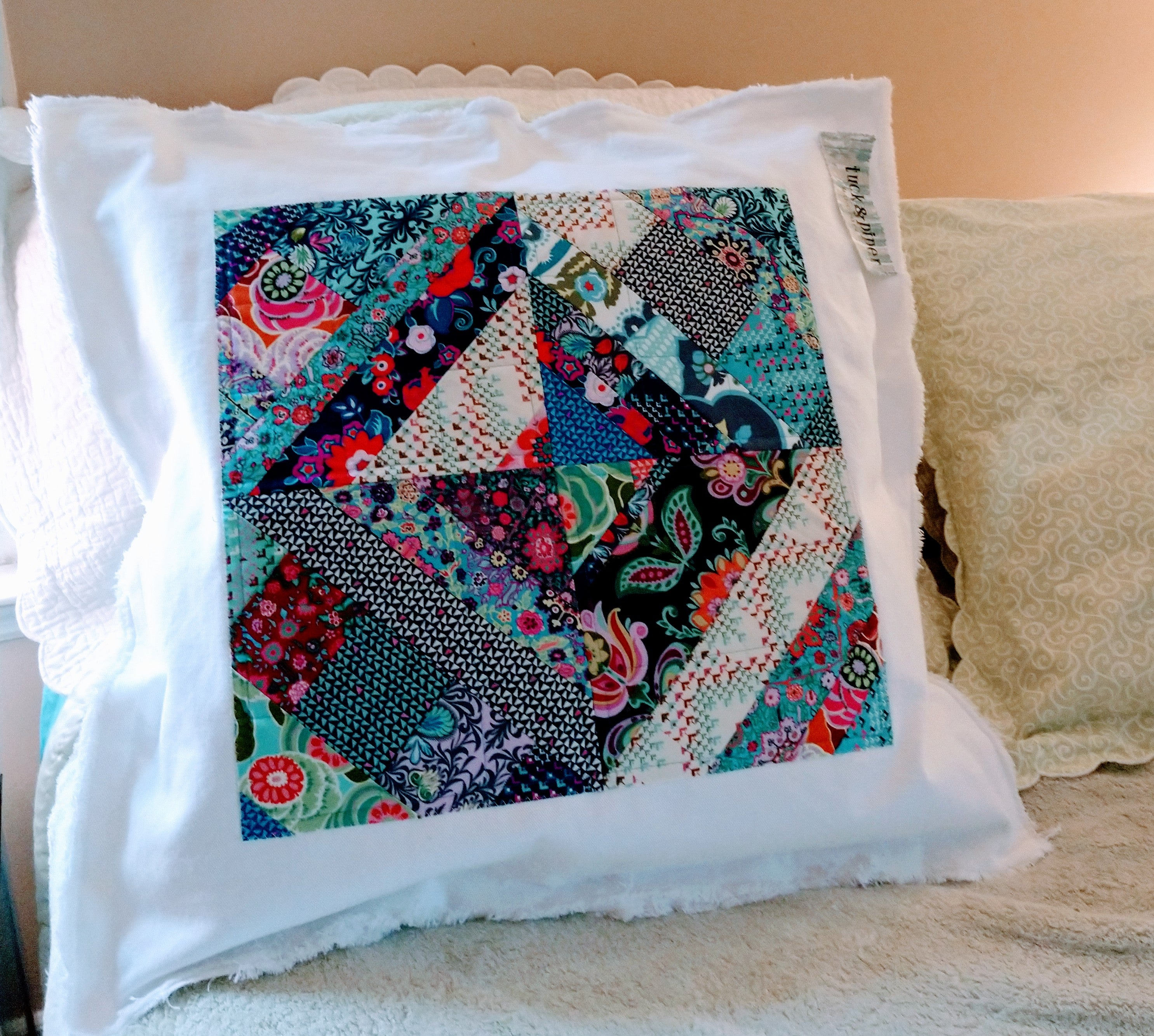 Decorative Pillow with White Denim Cover - Bohicket Road