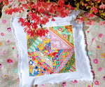 Patchwork and White Denim Pillow Size Medium - Bohicket Road