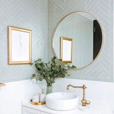 Gold Frame Round Bathroom Mirror
