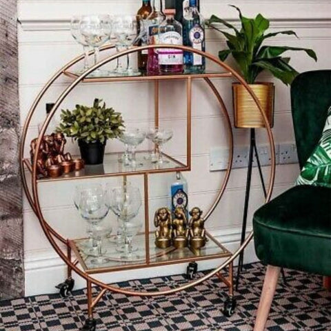 Mirrored Bar Trolley
