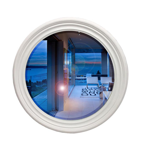 White Natural Wood Round Frame Mirror - mirrors-city-aus