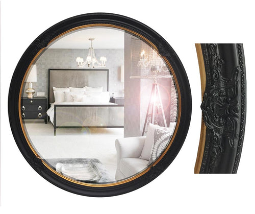 Gold and Black Decorative Wood Round Frame Mirror