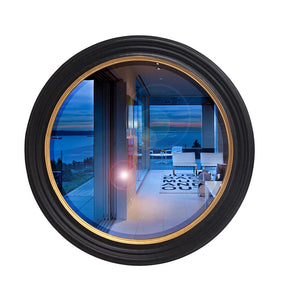 Gold and Black Natural Wood Round Frame Mirror