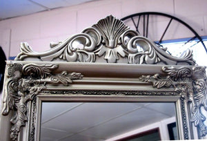 Evelyn Ornate Floor Mirror Stand Silver Large - mirrors-city-aus
