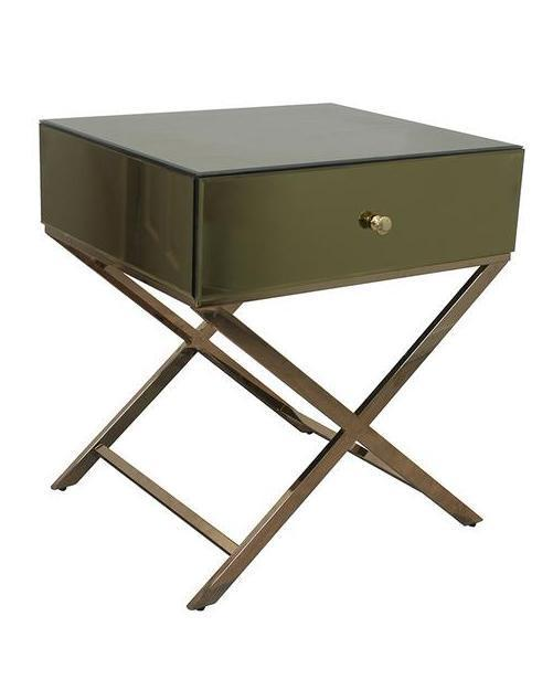 Willa Champagne Mirrored Bedside Table Local
