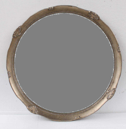 SAADO FRENCH PROVINCIAL ORNATE ROUND MIRROR ANTIQUE SILVER