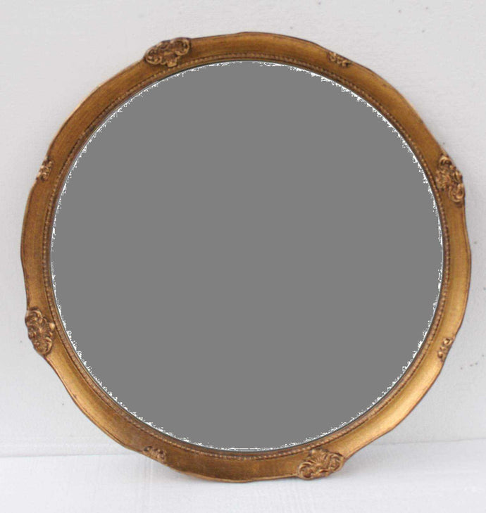 SAADO FRENCH PROVINCIAL ORNATE ROUND MIRROR ANTIQUE GOLD