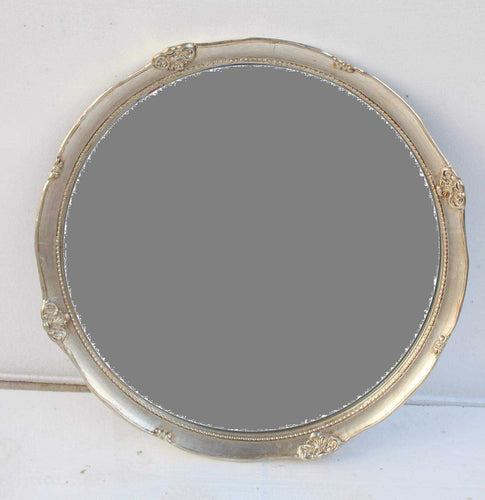 SAADO FRENCH PROVINCIAL ORNATE ROUND MIRROR CHAMPAGNE