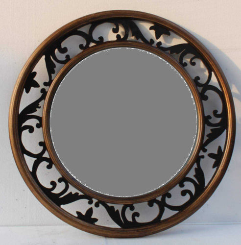 GULA TRADITIONAL ROUND MIRROR BROWN