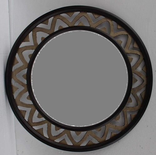 PATA TRADITIONAL ROUND MIRROR GOLD BROWN