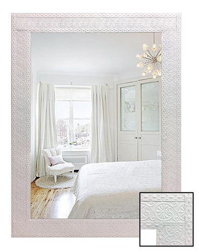 White Pressed Metal Frame Wall Mirror - mirrors-city-aus