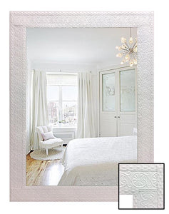 White Pressed Metal Frame Wall Mirror