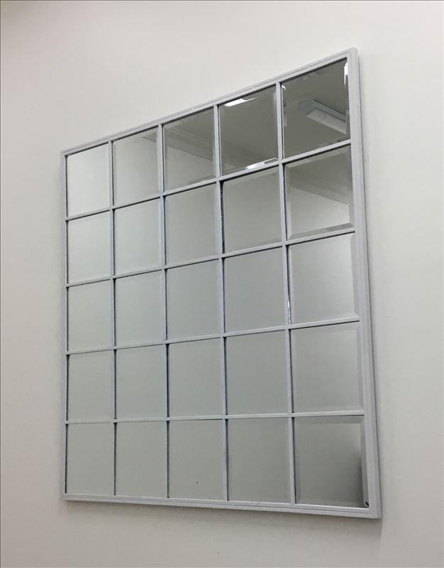 Matt White Iron Grid Metal Frame Mirror