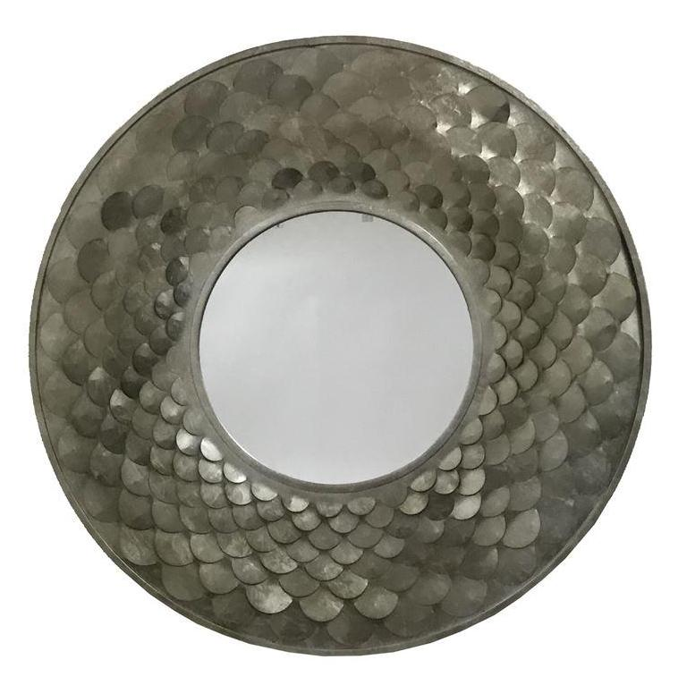 Pewter Mermaid Round Metal Frame Wall Mirror