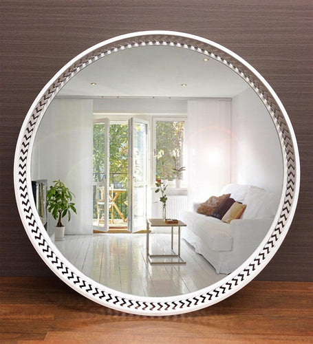 Matte White  Round Metallic Frame Wall Mirror - mirrors-city-aus
