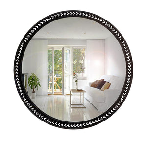 Black Round Metallic Frame Wall Mirror