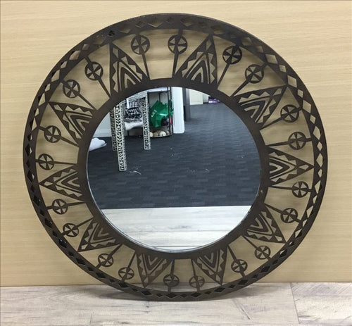 Brown Decorative Round Metal Frame Wall Mirror