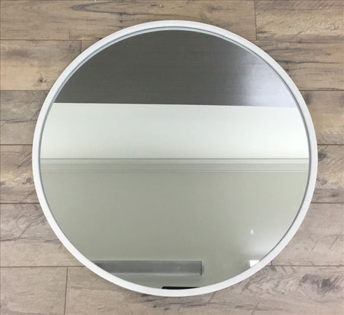 Matte White Contemporary Round Metal Frame Mirror - mirrors-city-aus