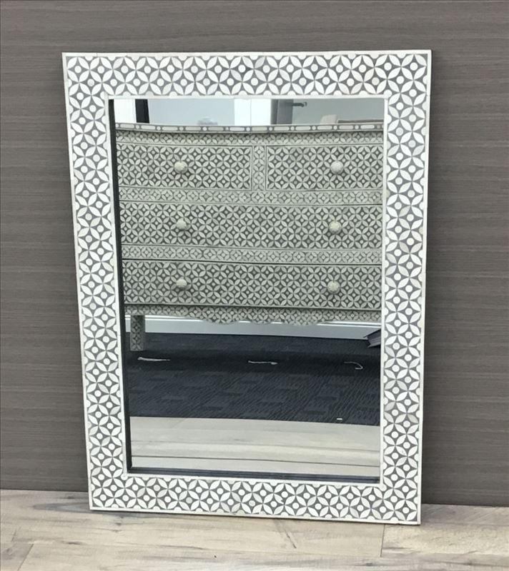 Grey and White Rectangular Inlay Frame Wall Mirror - mirrors-city-aus