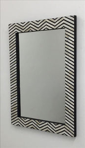 Black and White Decorative Inlay Frame Wall Mirror