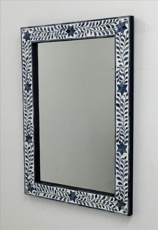 Blue and White Flower Inlay Frame Wall Mirror
