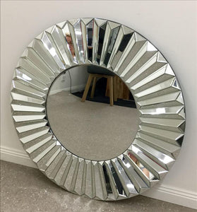 Multi- Pieces Sunburst Round Frame Wall Mirror