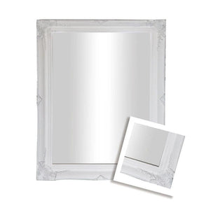 Felicity Ornate Wall Mirror Brushed White Small