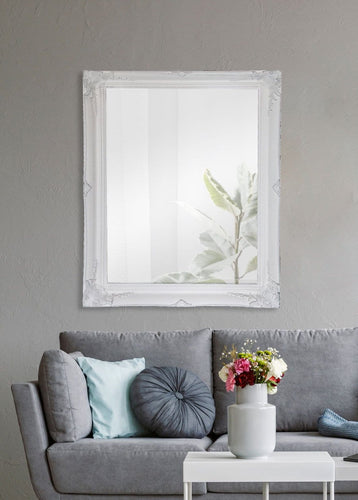 Felicity Ornate Wall Mirror Brushed White Small - mirrors-city-aus