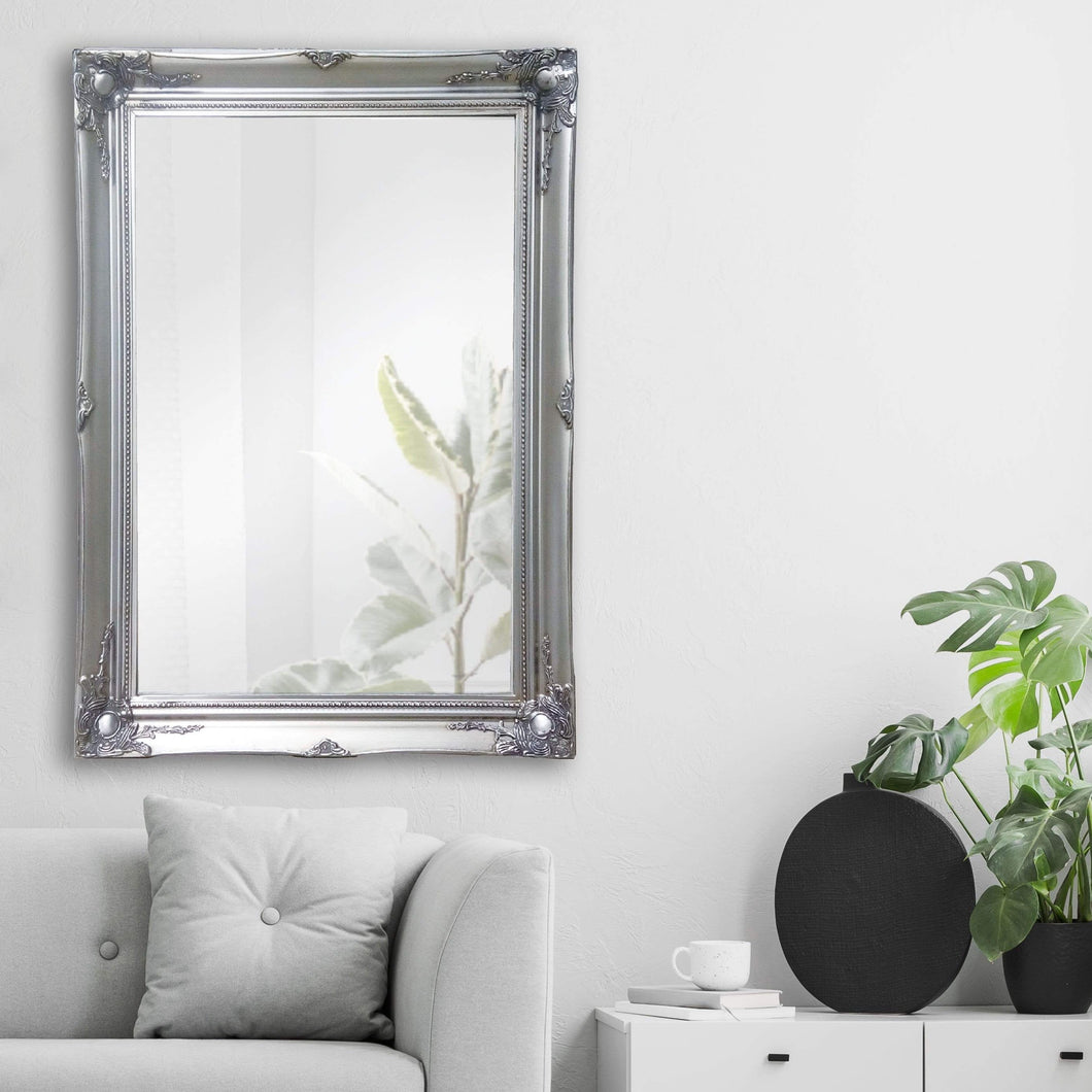 Felicity Ornate Wall Mirror Silver Small