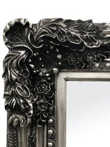 Angelica Ornate Floor Mirror Antique Silver Large - mirrors-city-aus