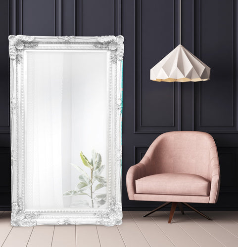 Angelica Ornate Floor Mirror Brushed White Large - mirrors-city-aus