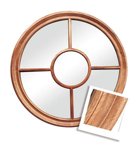 Holloway Round Mirror Natural Wood Grain