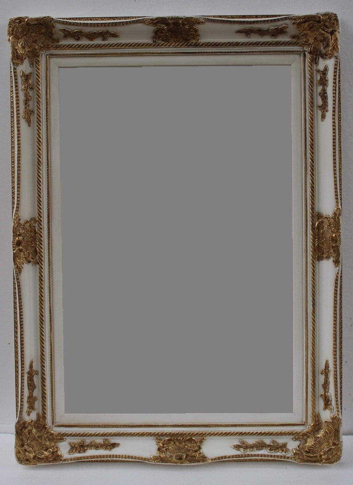 WICHOO FRENCH PROVINCIAL ORNATE MIRROR GOLD WHITE 85 x 115 CM (24X36)