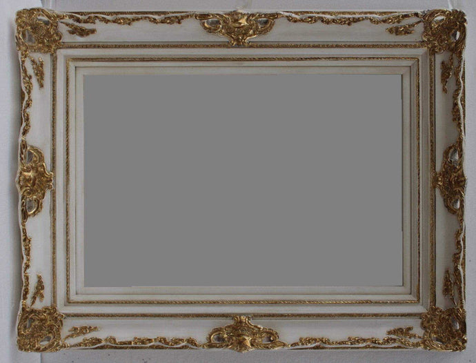 KANAN FRENCH PROVINCIAL ORNATE MIRROR GOLD WHITE 96 x 126 CM (24X36)