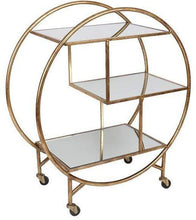 Load image into Gallery viewer, Calder Antique Gold Bar Trolley Mirrored Shelves Local