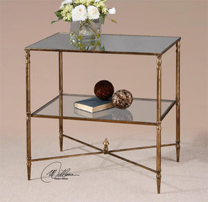 Uttermost Henzler Mirrored Side Table- 26120 Local
