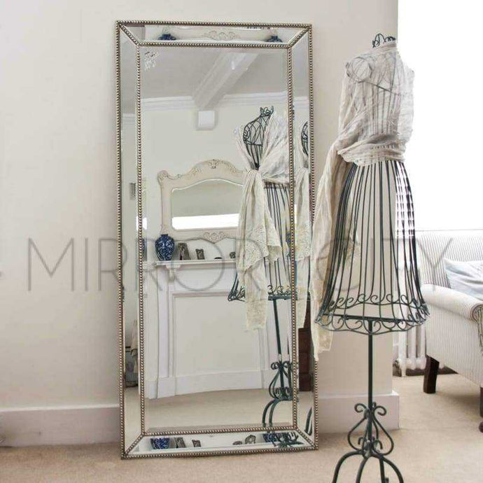 Bronx Modern Beaded Silver Mirror - mirrors-city-aus