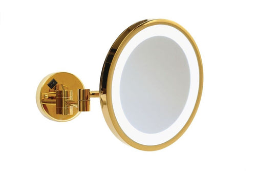 Ablaze Gold With Cool Light Backlit Round Shaving Mirror - mirrors-city-aus