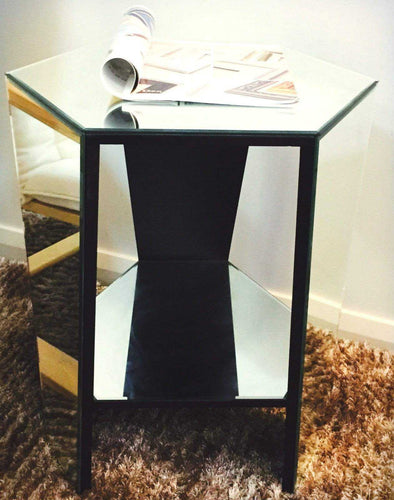 Level Mirrored Side Table