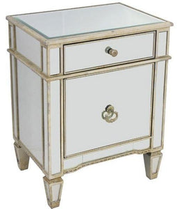 Echo Mirrored Bedside Antique Table Ds- 41121 Local