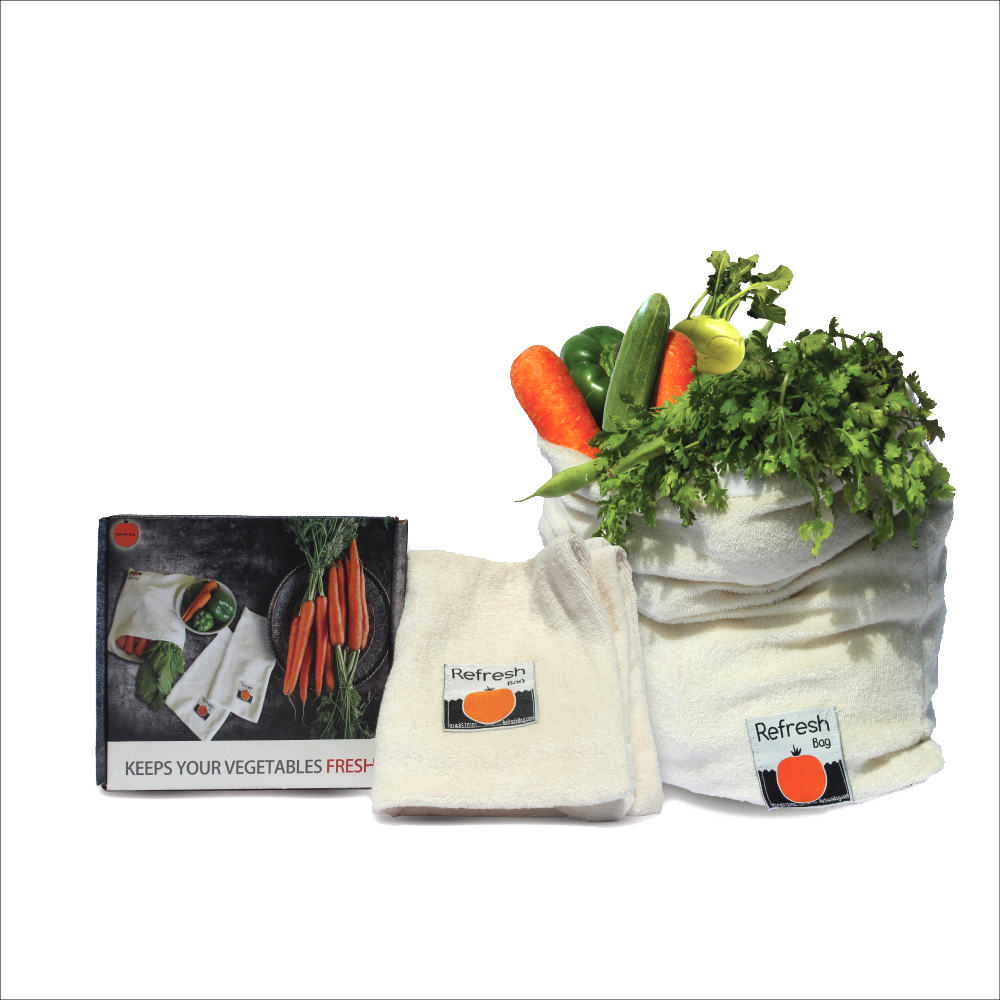 Set of 2 - Eco Friendly Reusable Vegetable Storage Fridge Bag