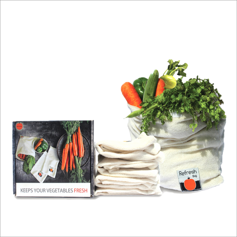 Set of 4 - Eco Friendly Reusable Vegetable Storage Fridge Bag