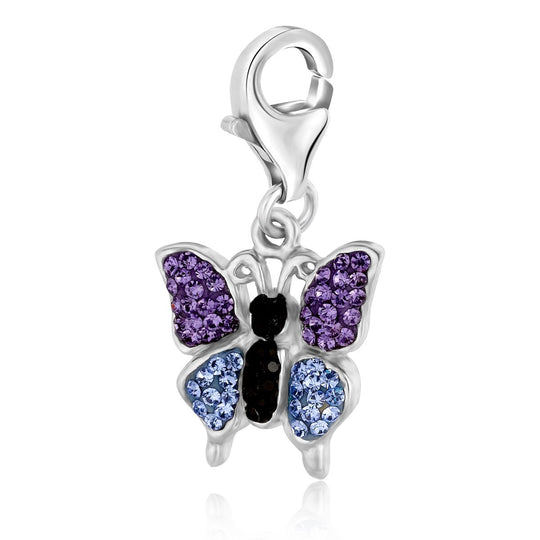 Sterling Silver Butterfly Charm with Lavender and Blue Tone Crystal Accents