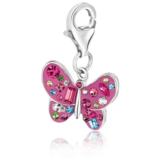 Sterling Silver Butterfly Charm with Multi Tone Crystal Embellishments
