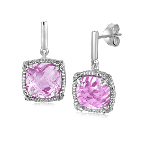 Sterling Silver Pink Amethyst and White Sapphires Fluer De Lis Drop Earrings